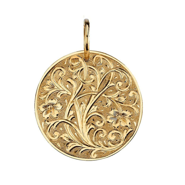 FLORAL ENGRAVED 20MM 18K YELLOW GOLD ROUND DISC | SINGLE STONE