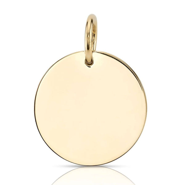 POLISHED 25MM 18K YELLOW GOLD DISC | SINGLE STONE