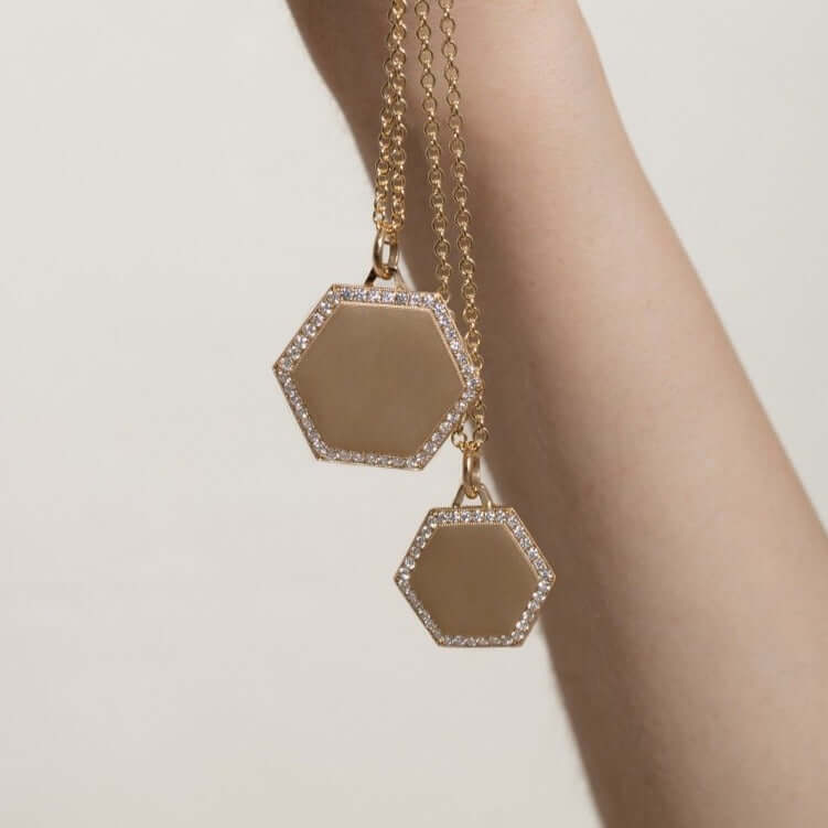 25MM HEXAGON PENDANT - SINGLE STONE