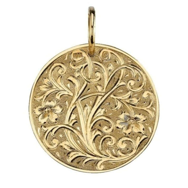 30MM FLORAL ENGRAVED 18K YELLOW GOLD DISC | SINGLE STONE