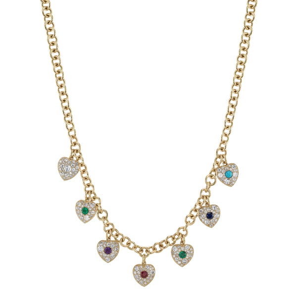 SEQUENTIALLY SET DIAMOND EMERALD AMETHYST RUBY EMERALD SAPPHIRE AND TURQUOISE CENTER STONES MOUNTED IN COBBLESTONE DIAMOND SET 18K YELLOW GOLD HEART SHAPED CHARMS ON AN 18K YELLOW GOLD CHAIN | SINGLE STONE