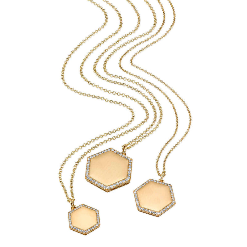 TRIO OF PAVE DIAMOND FRAMED GOLD HEXAGON PENDANTS ON GOLD CHAINS | SINGLE STONE
