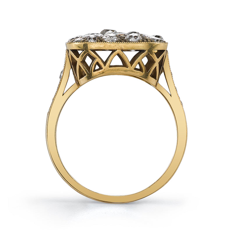 SMALL SQUARE COBBLESTONE RING - SINGLE STONE