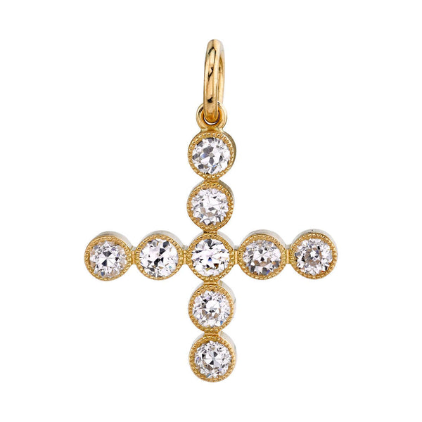 1.20CT OLD EUROPEAN CUT DIAMONDS MOUNTED IN AN 18K YELLOW GOLD BEZEL SET CHARM | SINGLE STONE