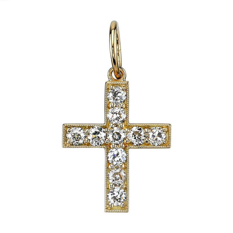 APPROXIMATELY 0.80CTW OLD EUROPEAN CUT DIAMONDS SET IN A 18K YELLOW GOLD CROSS | SINGLE STONE
