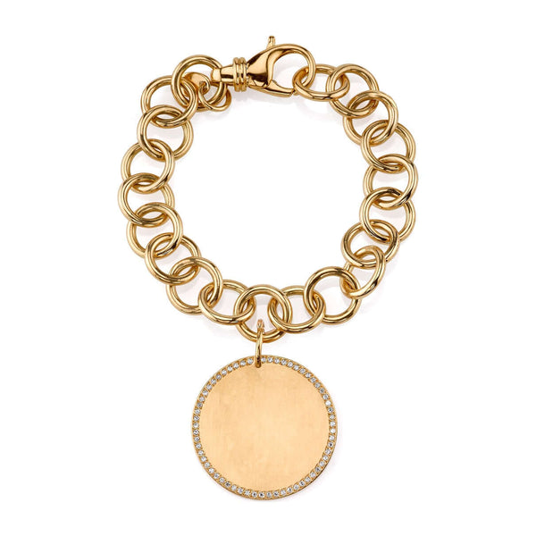 CLUB BRACELET WITH 30MM DISC - SINGLE STONE