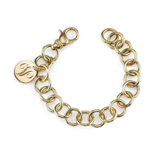 CLUB BRACELET WITH 15MM DISC - SINGLE STONE