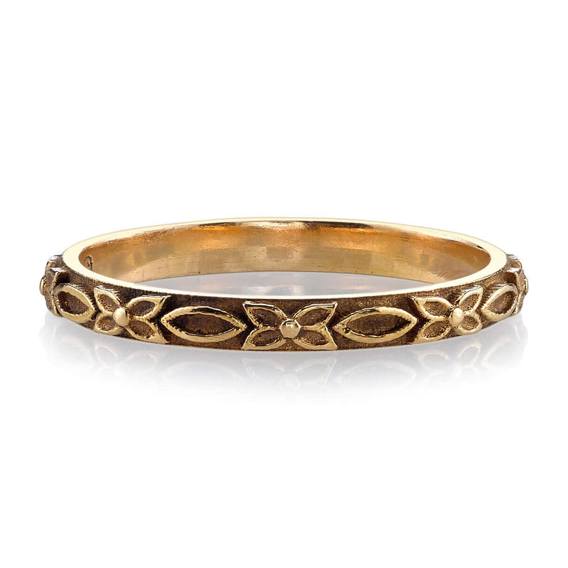 HANDCRAFTED OXIDIZED 18K ROSE GOLD LADIES' BAND WITH FLORAL DETAIL | SINGLE STONE