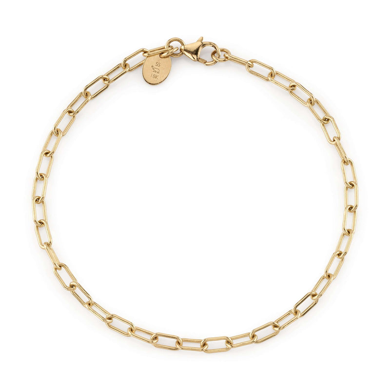 "7.5"" 18K YELLOW GOLD LONG LINK CHAIN BRACELET 