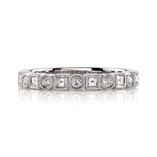 PLATINUM ETERNITY BAND WITH ALTERNATING SQUARE AND OLD EUROPEAN CUT DIAMONDS | SINGLE STONE | SINGLE STONE