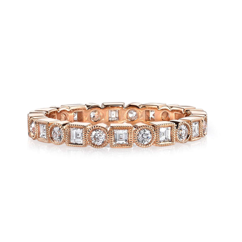 18K ROSE GOLD ETERNITY BAND WITH ALTERNATING SQUARE AND SINGLE CUT DIAMONDS | SINGLE STONE