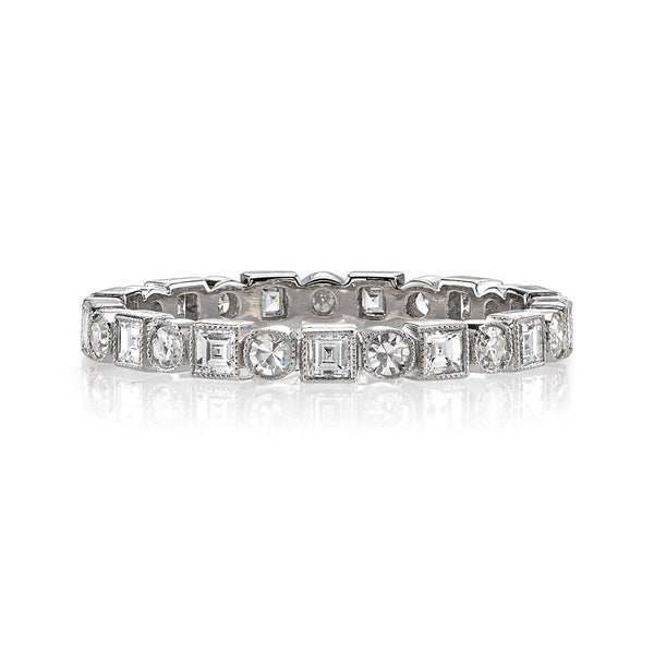 PLATINUM ETERNITY BAND WITH ALTERNATING SQUARE AND SINGLE CUT DIAMONDS | SINGLE STONE