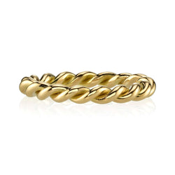 TWISTED 18K YELLOW GOLD LADIES' BAND | SINGLE STONE