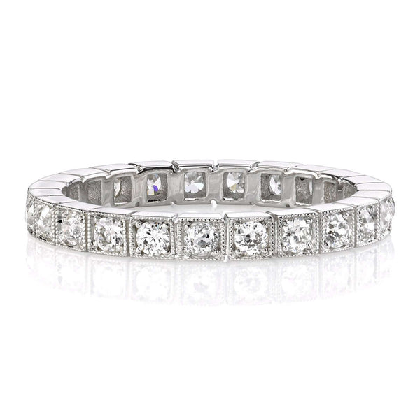 0.60CTW OLD EUROPEAN CUT DIAMONDS IN A PLATINUM BEZEL SET ETERNITY BAND | SINGLE STONE