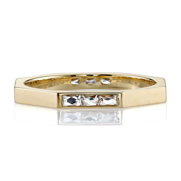 OCTAGONAL 18K YELLOW GOLD RING WITH 0.38CT FRENCH CUT DIAMONDS | SINGLE STONE
