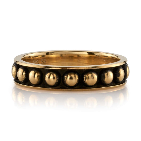 OXIDIZED 18K YELLOW GOLD BAND WITH LARGE GOLD BEADS LINING CENTER | SINGLE STONE