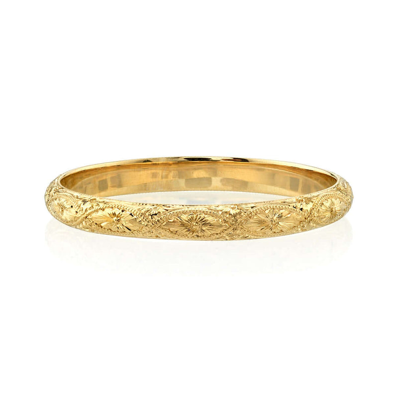 BEAUTIFULLY ENGRAVED 18K YELLOW GOLD LADIES WEDDING BAND | SINGLE STONE