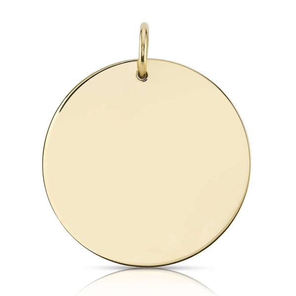 30MM 18K YELLOW GOLD DISC CHARM | SINGLE STONE