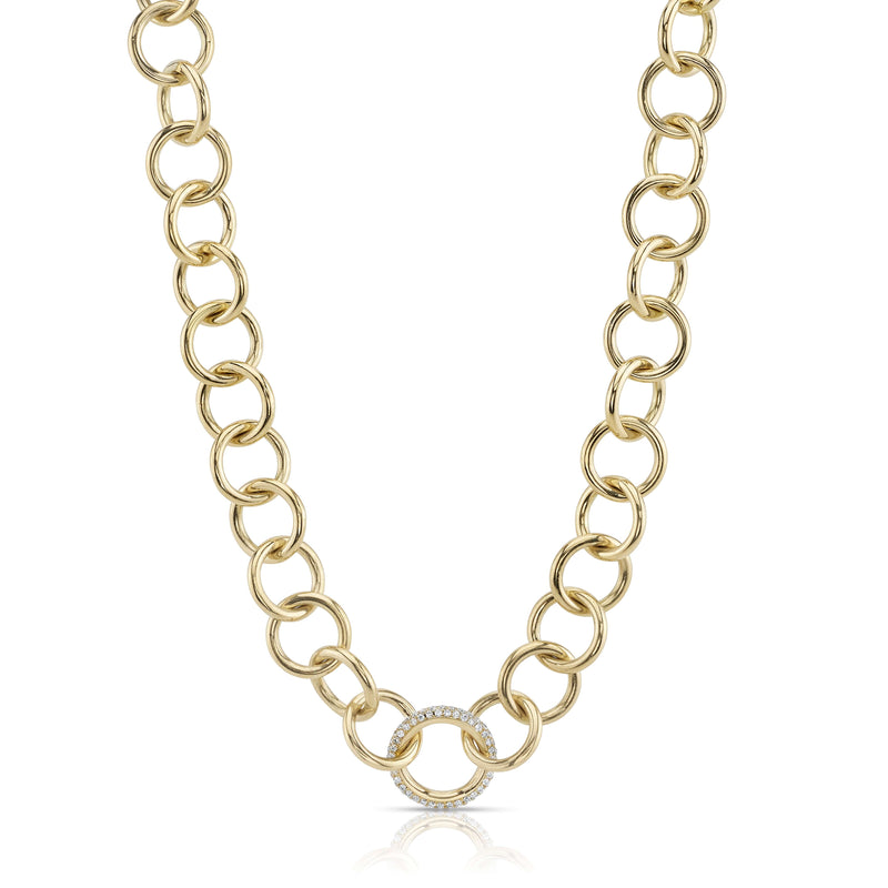 CLUB NECKLACE WITH DIAMONDS - SINGLE STONE