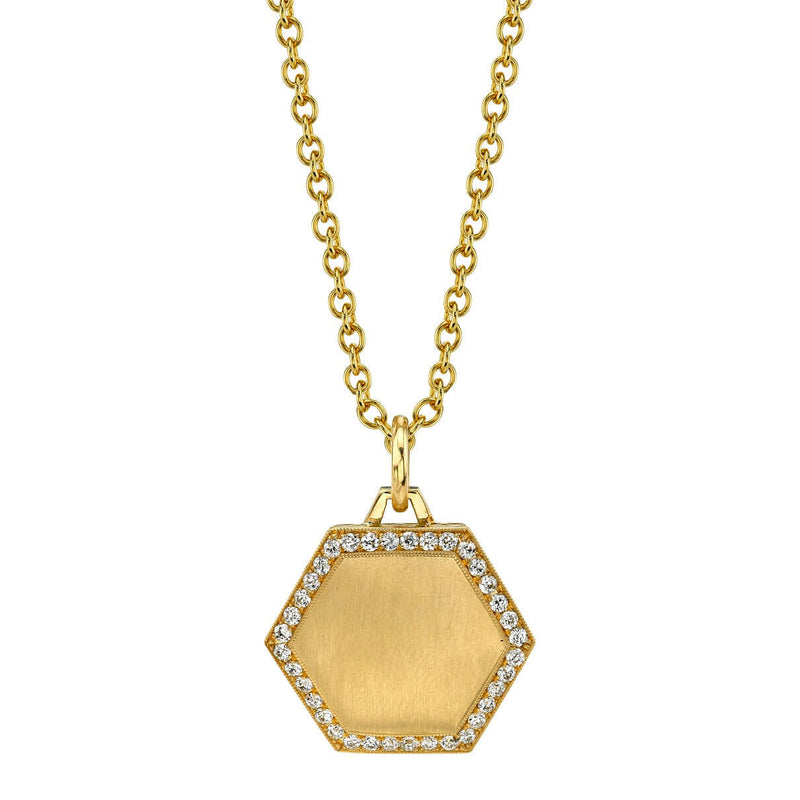 "PAVE FRAMED 25MM 18K YELLOW GOLD HEXAGON PENDANT ON A 27"" YELLOW GOLD CHAIN 
