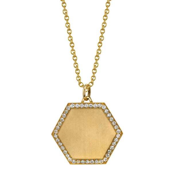 "SATIN FINISH PAVE FRAMED 30MM GOLD HEXAGON PENDANT ON A 27"" GOLD CHAIN 