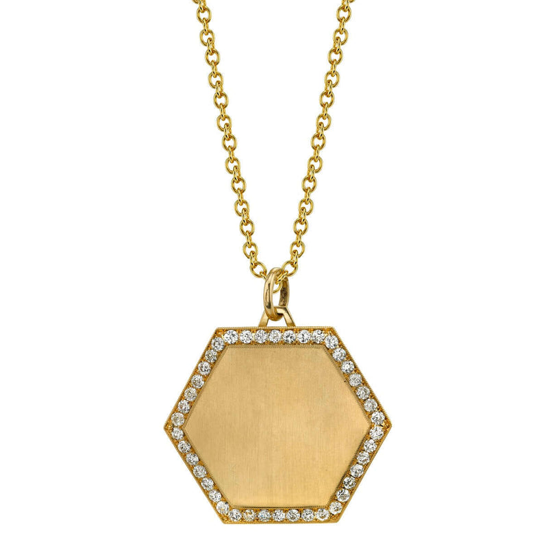30MM HEXAGON PENDANT - SINGLE STONE