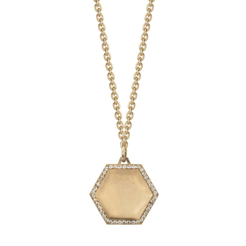 "PAVE FRAMED 25MM 18K ROSE GOLD HEXAGON PENDANT ON A 27"" ROSE GOLD CHAIN 