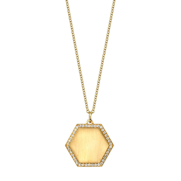 "20MM PAVE FRAMED GOLD HEXAGON PENDANT ON A 27"" GOLD CHAIN 