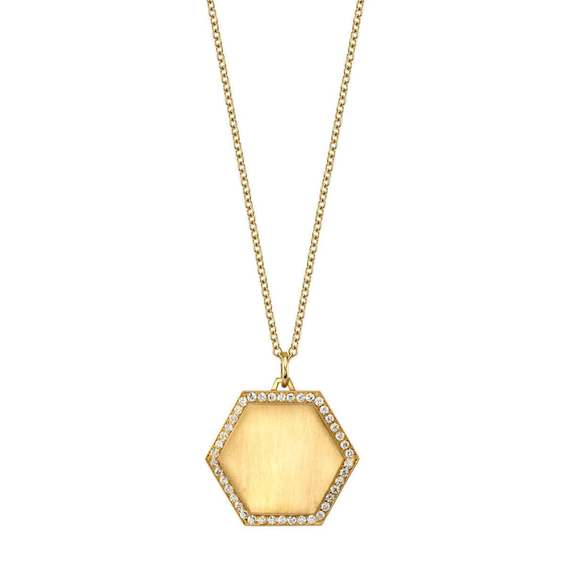 20MM HEXAGON PENDANT - SINGLE STONE