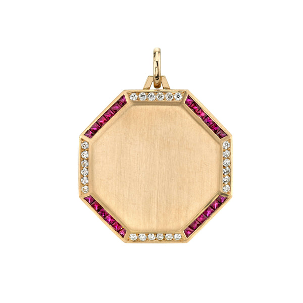 30MM 18K YELLOW GOLD OCTAGON PENDANT PAVE FRAMED WITH ALTERNATING SETS OF RUBIES AND DIAMONDS | SINGLE STONE