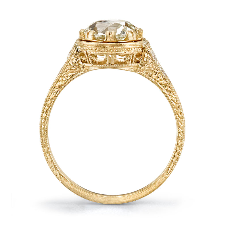 PROFILE VIEW OF 1.20CT OLD EUROPEAN CUT DIAMOND 18K YELLOW GOLD RING | SINGLE STONE