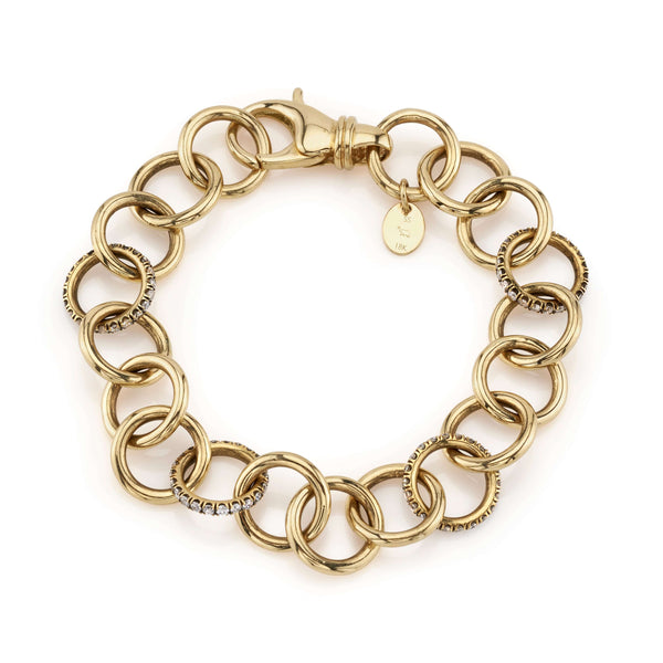 CLUB BRACELET WITH DIAMONDS - SINGLE STONE