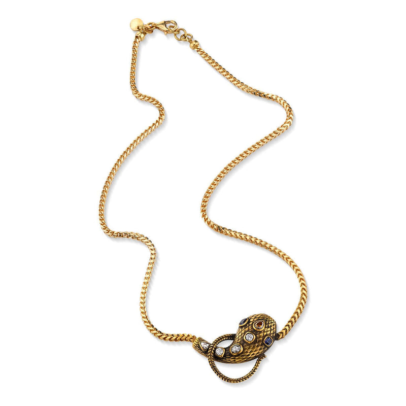 "OXIDIZED 18K YELLOW GOLD SERPENT PENDANT WITH DIAMONDS AND SAPPHIRES ON AN 18"" 18K YELLOW GOLD CHAIN 