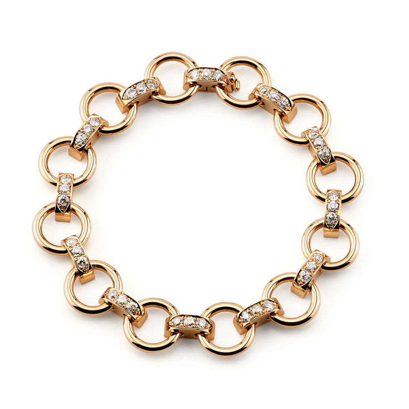 APPROXIMATELY 2.25CTW OLD EUROPEAN CUT DIAMONDS SET IN AN 18K ROSE GOLD CLUB LINK BRACELET ARRANGED IN A CIRCLE PATTERN | SINGLE STONE