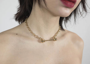 GOLD BARBELL PIERCING NARROW CHOKER