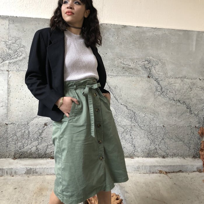 Vintage Green Button Skirt