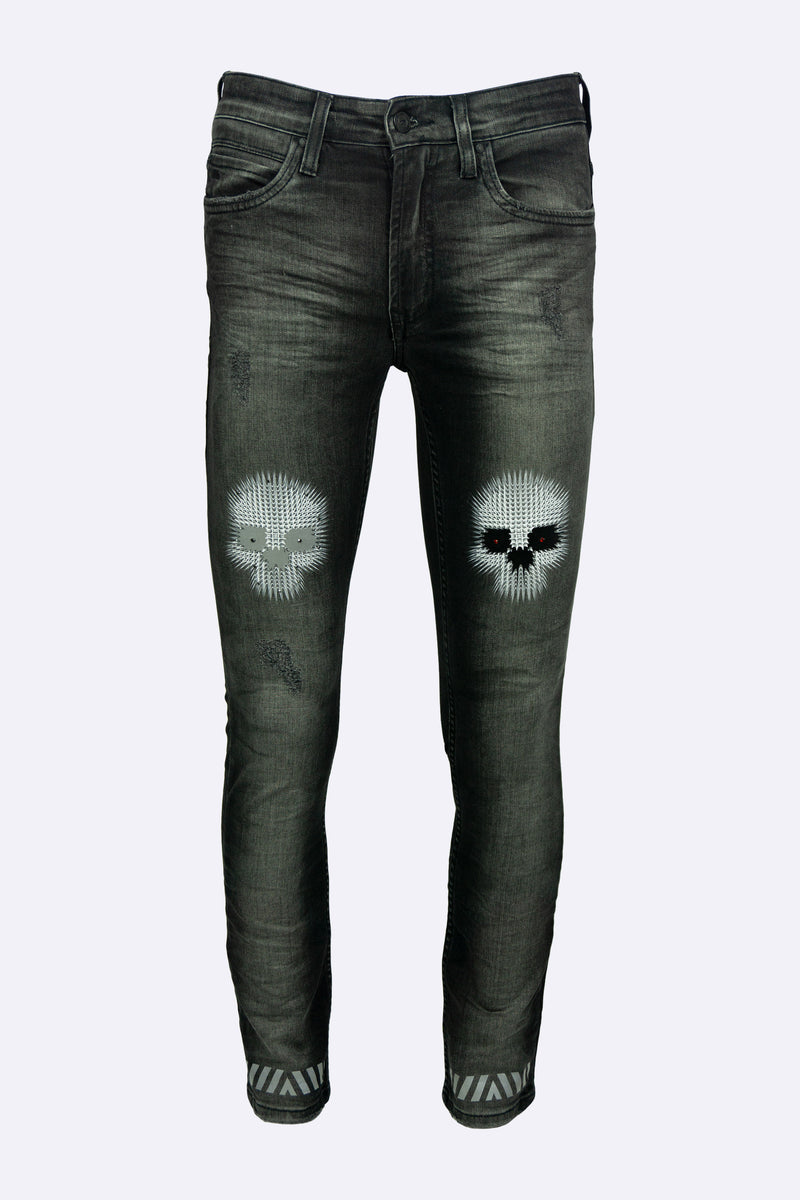 BRAZILIAN STRETCH DENIM 5 POCKET JEAN WITH CHARCOAL DENIM WASH  REFLECTIVE SKULS WITH ONYX BLACK AND BLOOD RED CRYSTALS ON EYES   SIZE: FITS TRUE TO SIZE (SKINNY FIT)