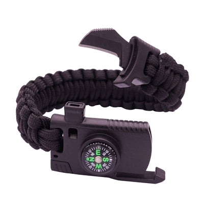 """4 in 1"" Compass, Whistle, Fire Starter, Paracord Bracelet"