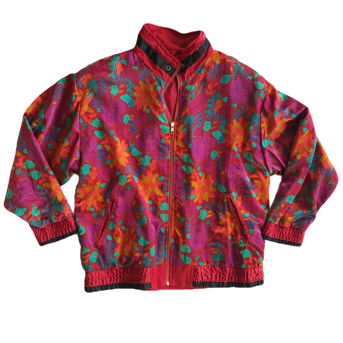 VINTAGE FLORAL WINDBREAKER JACKET