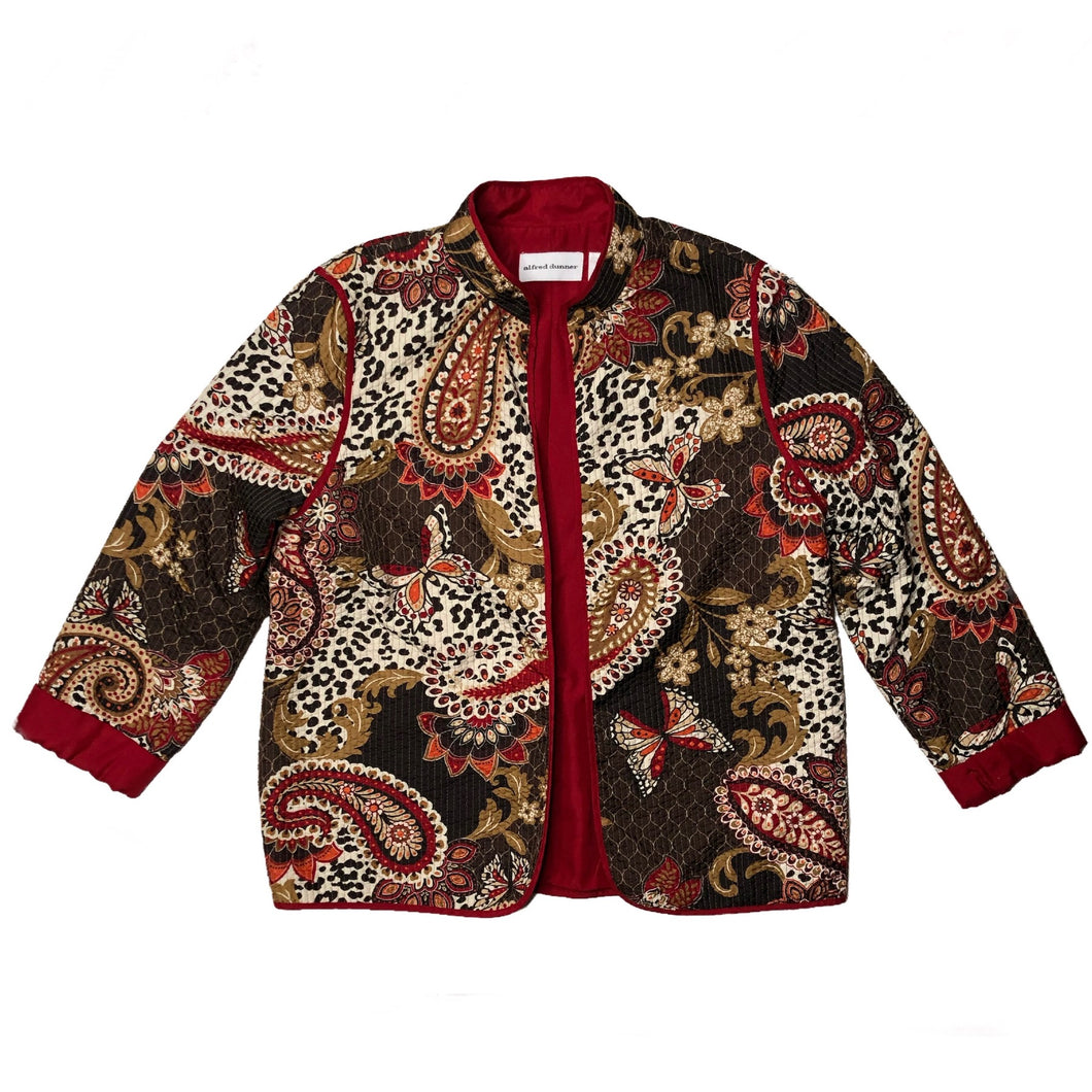 VINTAGE QUILTED PAISLEY AND LEOPARD JACKET