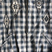 VINTAGE BEADED GINGHAM BOMBER JACKET