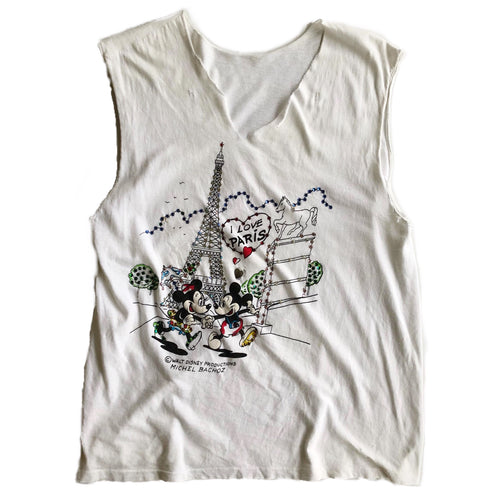 VINTAGE EMBELLISHED MICKEY & MINNIE PARIS LOVERS TANK