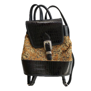 VINTAGE CHEETAH PRINT LEATHER BACKPACK