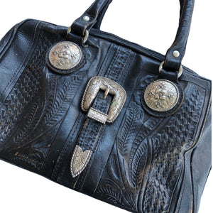 VINTAGE DISTRESSED LEATHER WESTERN BUCKLE BAG