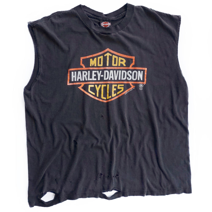 VINTAGE 80'S DISTRESSED HARLEY MUSCLE TEE
