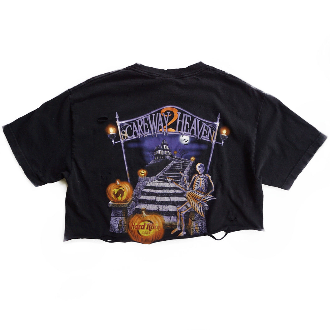 VINTAGE DISTRESSED HALLOWEEN HARD ROCK CROP TEE
