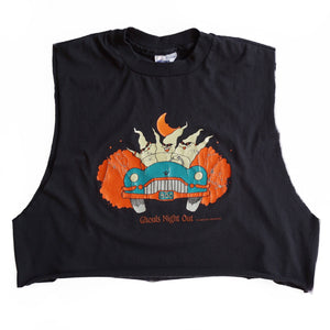 VINTAGE GHOULS NIGHT OUT CROPPED MUSCLE TEE