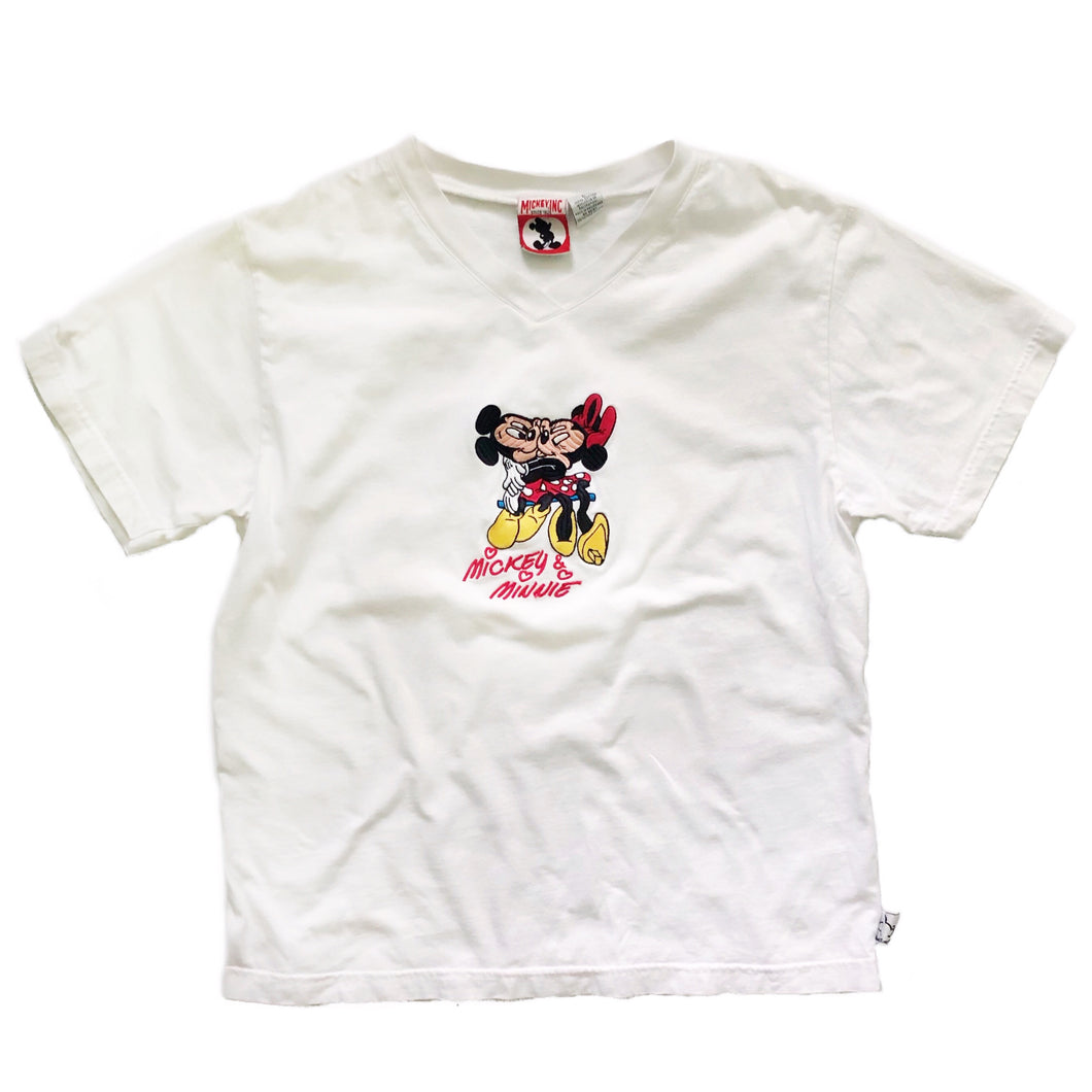 VINTAGE 90'S MICKEY & MINNIE EMBROIDERED TEE