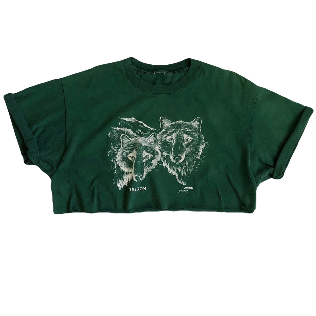 VINTAGE OREGON WOLF CROP TEE