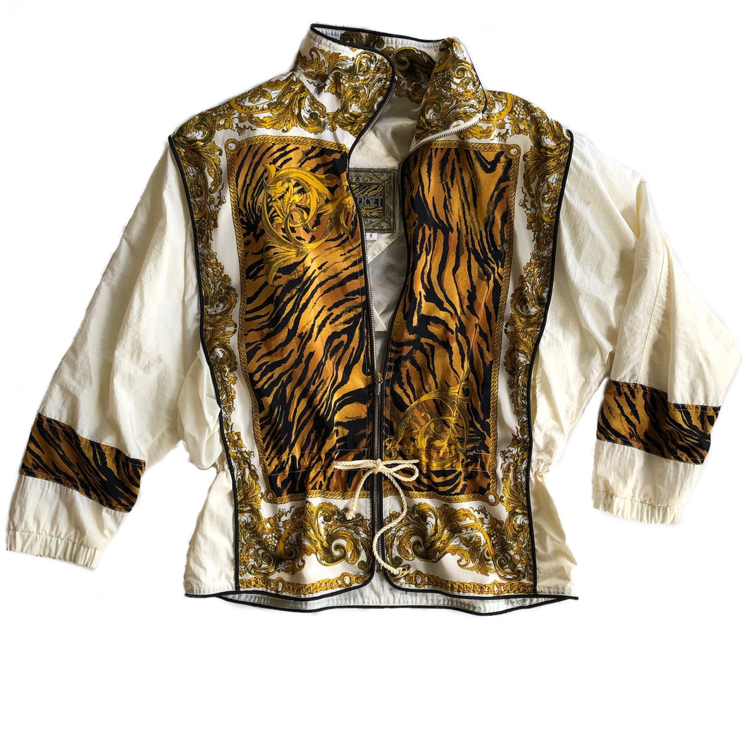 VINTAGE TIGER PRINT WINDBREAKER JACKET